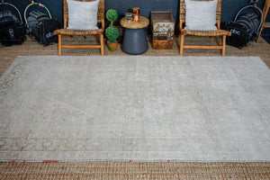 6'5 x 11'2 Taspinar Rug Muted Gray and Beige Vintage Carpet