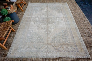 5'9 x 9' Taspinar Rug Muted Sage Green and Beige Vintage Carpet