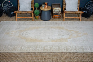 5'4 x 11' Taspinar Rug Creamy Beige, Gold and Sage Green Vintage Carpet