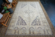 Load image into Gallery viewer, 6'6 x 10'3 Taspinar Rug Creamy Beige, Purple + Olive Green Vintage Carpet