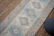 Load image into Gallery viewer, 2'6 x 10'7 Vintage Runner, Blue + Beige & Sage Green