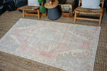Load image into Gallery viewer, 4'4 x 8' Oushak Rug Pink, Blue and Cream Vintage Turkish Carpet