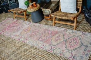 2'8 x 10'8 Vintage Herki Runner Muted Pinks and Beige