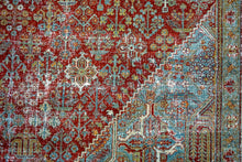 Load image into Gallery viewer, 4'2 x 7'1 Oushak Rug Muted Coral, Turquoise Blue and Cream Vintage Carpet