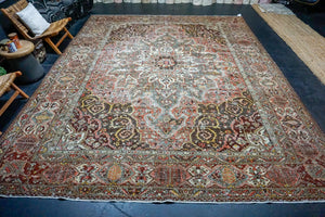 4'2 x 7'1 Oushak Rug Muted Coral, Turquoise Blue and Cream Vintage Carpet