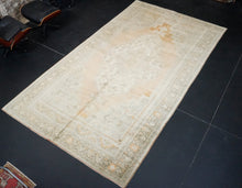 Load image into Gallery viewer, 7'1 x 13'7 Oushak Rug Apricot, Sage + Gray