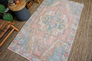 4'2 x 6'10 Oushak Rug Pink, Blue and Cream Vintage Turkish Carpet