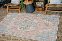 Load image into Gallery viewer, 4'2 x 6'10 Oushak Rug Pink, Blue and Cream Vintage Turkish Carpet