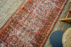 3' x 12'10 Vintage Malayer Runner Red, Blue & Brown