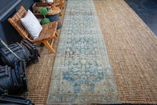 Load image into Gallery viewer, 3'3 x 14' Vintage Malayer Runner Denim Blue and Beige