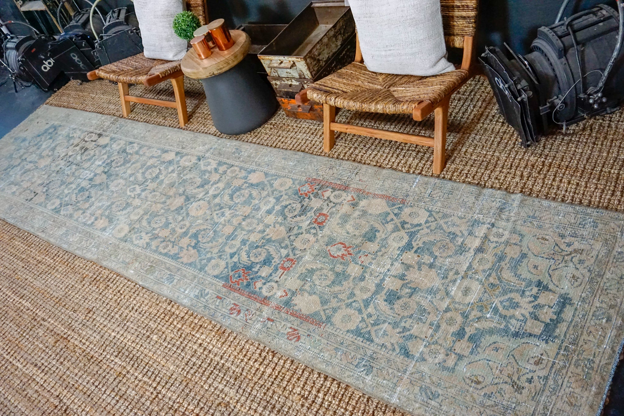 3'3 x 14' Vintage Malayer Runner Denim Blue and Beige