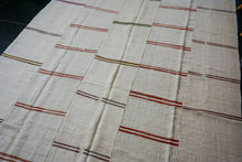 Load image into Gallery viewer, 9' x 11'7 MCM Vintage Organic Hemp Rug Off White Collage Kilim Striped