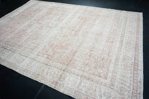 8'10 x 12'7 Oushak Rug Coral or Salmon, Cream and Taupe Carpet