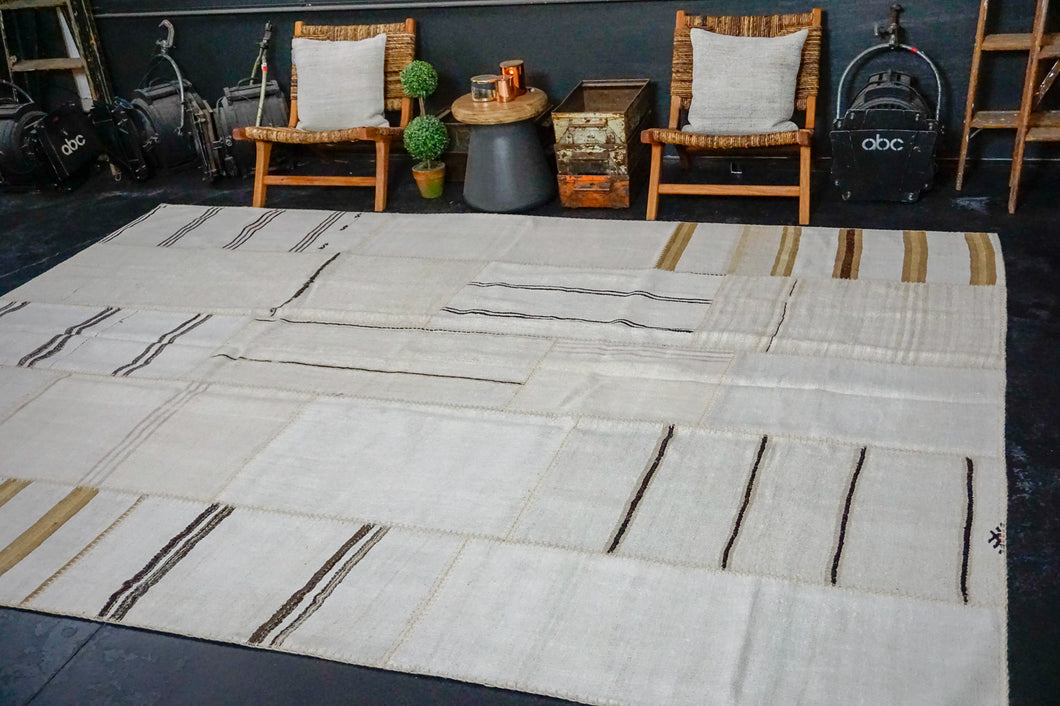 Hold for HGI*8'10 x 12'2 MCM Vintage Organic Hemp Rug Off White Flatweave Kilim