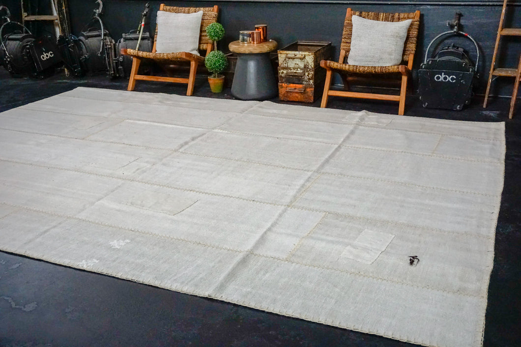 8'10 x 12'4 MCM Vintage Organic Hemp Rug Off White Flatweave Collage Kilim