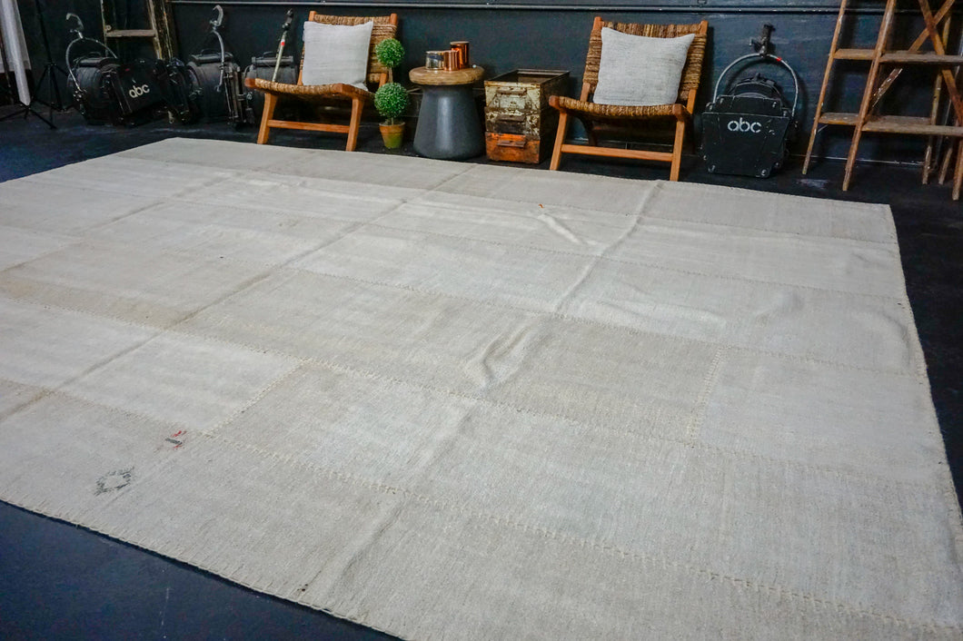 9'10 x 13'8 MCM Vintage Organic Hemp Rug Off White Flatweave Collage Kilim