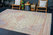 Load image into Gallery viewer, 7'2 x 10'6  Vintage Persian Joshagan Carpet Muted Red, Ecru and Blue