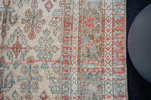 7'2 x 10'6  Vintage Persian Joshagan Carpet Muted Red, Ecru and Blue