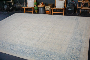 10'4 x 14'4 Classic Vintage Persian Mahal Rug Creamy White  + Blue 60's Carpet