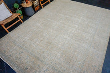 Load image into Gallery viewer, 9'3 x 12'10 Classic Vintage Mahal Carpet Olive, Taupe-Beige + Denim Blue 60's Rug