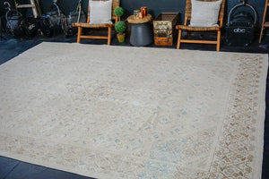 "Hold for ELD til 9/30*9'7"" x 12'9"" Classic Vintage Mahal Rug Cream + Blue & Brown 60's Carpet"