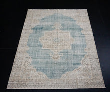 Load image into Gallery viewer, 7 x 10 Oushak Rug Seafoam Blue and Sand Beige