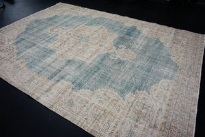 7 x 10 Oushak Rug Seafoam Blue and Sand Beige