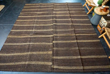 Load image into Gallery viewer, 8'9 x 10'3 Goat Hair Brown + Cream Vintage Flatweave Kilim