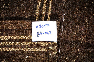 8'9 x 10'3 Goat Hair Brown + Cream Vintage Flatweave Kilim