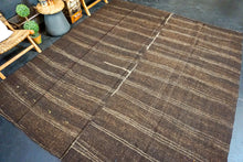 Load image into Gallery viewer, 8'8 x 9'11 Brown + Cream Goat Hair Vintage Flatweave Kilim