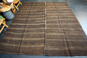 8'8 x 9'11 Brown + Cream Goat Hair Vintage Flatweave Kilim