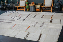 Load image into Gallery viewer, 9'8 x 13' Vintage Organic Hemp Rug Off White Collage Flatweave MCM Kilim