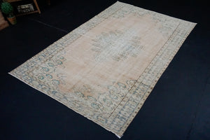 6' x 9'7 Vintage Oushak Rug Turquoise Blue and Blush Beige Carpet