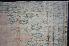 Load image into Gallery viewer, 6' x 9'7 Vintage Oushak Rug Turquoise Blue and Blush Beige Carpet