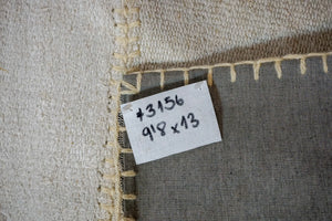 9'8 x 13' Vintage Organic Hemp Rug Off White Collage Flatweave MCM Kilim