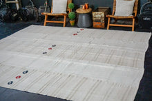 Load image into Gallery viewer, 9'6 x 11' Vintage Organic Hemp Rug Off White Flatweave MCM Kilim