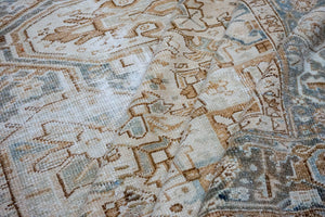 9'9 x 12'5 Tabriz Carpet Denim Blue Overdyed Vintage Rug