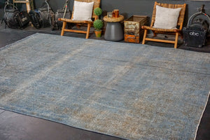 9'7 x 12'6 Tabriz Carpet Denim Blue Overdyed Vintage Rug