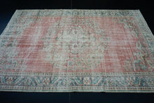 Load image into Gallery viewer, 6'4 x 9'4 Vintage Oushak Rug Muted Red and Green Carpet