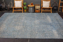 Load image into Gallery viewer, 8'3 x 10'10 Oushak Carpet Denim Blue Overdyed Vintage Rug