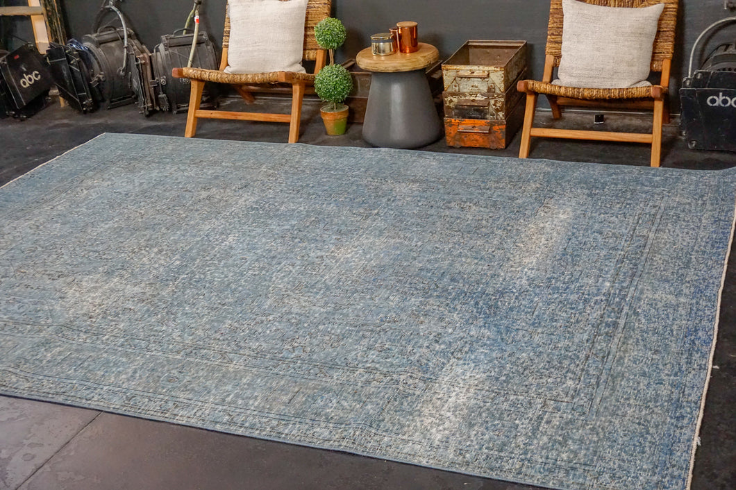 8'3 x 10'10 Oushak Carpet Denim Blue Overdyed Vintage Rug