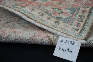 6'4 x 9'4 Vintage Oushak Rug Muted Red and Green Carpet