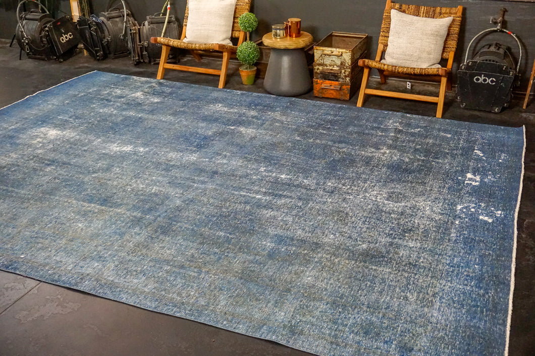 9'4 x 12'5 Oushak Carpet Denim Blue Overdyed Vintage Rug