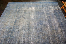 Load image into Gallery viewer, 9'4 x 12'5 Oushak Carpet Denim Blue Overdyed Vintage Rug
