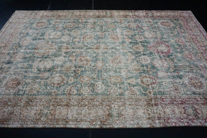 6'6 x 10'3 Vintage Oushak Rug Muted Green and Pink Carpet