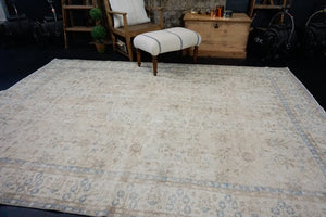 6'7 x 9'8 Vintage Oushak Rug Muted Cornflower Blue and Beige Carpet