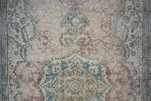 Load image into Gallery viewer, 5'3 x 8'7 Vintage Turkish Oushak Turquoise Blue, Violet and Beige