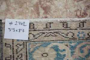 5'3 x 8'7 Vintage Turkish Oushak Turquoise Blue, Violet and Beige