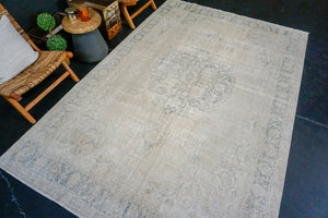 7' x 10'6 Vintage Oushak Seafoam and Sage Green and Beige