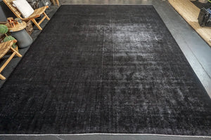 10'6 x 15' Classic Vintage Mahal Rug Black Overdyed Carpet 1970's